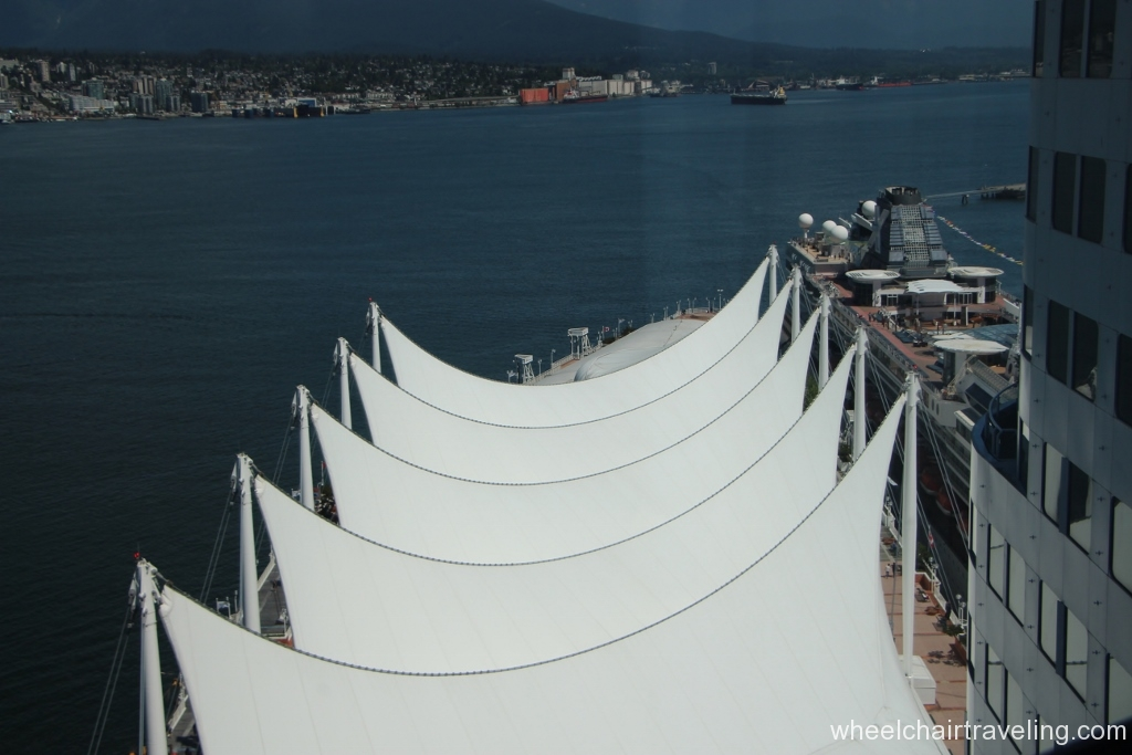 Our view of Canada Place Sails and Cruise Ship Terminal
